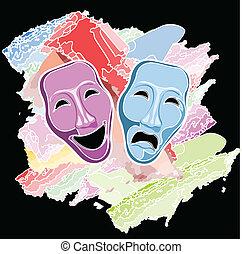 maszk, vígjáték, tragédia, színház