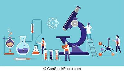 maszk, vektor, légzési, csoport, kutatás, kialakulás, gyógyszer, tudósok, dolgozó, laboratory., ábra, orvosok