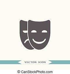 maszk, vektor, színház, ábra, ikon