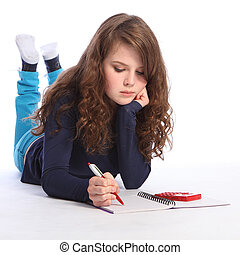 matek, számológép, lecke, tizenéves, leány