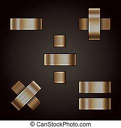 matematikai, arany, fém, -, levél, cégtábla, szalag