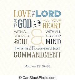 matthew, nyomtat, árajánlatot tesz, szeret, lélek, vagy, isten, minden, körülbelül, biblia, szív, cikcakkos, háttér, alkalmaz, poszter, nyomdászat, elme