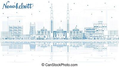 mauritánia, reflections., épületek, láthatár, város, nouakchott, áttekintés, kék