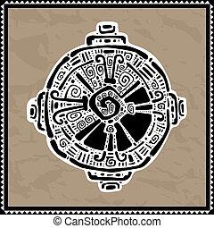 mayan, vektor, ku., jelkép., hunab, illustration.