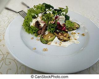 meat., fehér, tányér., saláta