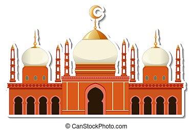 mecset, sablon, elszigetelt, épület, böllér