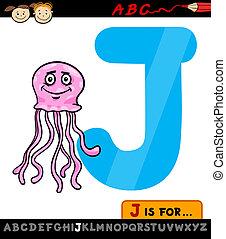 medúza, j, levél, ábra, karikatúra