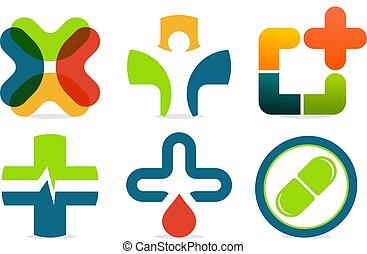 med, színes, collection., elvont, kereszt, aláír, vektor, plusz, orvosság, logo., set.
