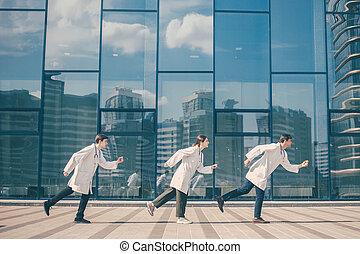 medics, csoport, ambulance., hajszoló