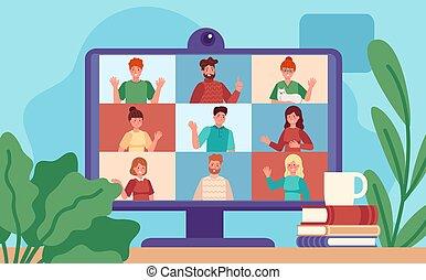 meeting., karikatúra, vezetőség, ellenző, csoport, tényleges, conferencing., munka, távoli, fogalom, colleagues, vita, video, vektor, online, számítógép