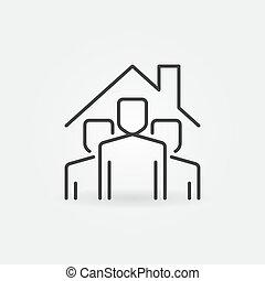 megállít, emberek, alatt, vektor, aláír, icon., áttekintés, otthon, tető