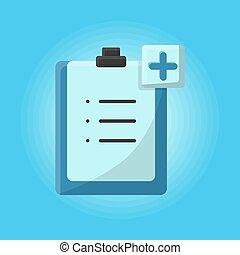 megállapít, türelmes, orvosi, tervezés, ábra, info., occupation., hanglemez, vektor, ikon