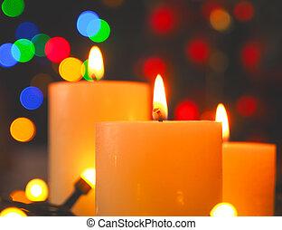 megérkezés, égető, állati tüdő, három, christmas gyertya