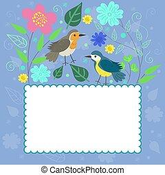 megbecsült, szórakozottan firkálgat, keret, vektor, graphics., plants., madarak
