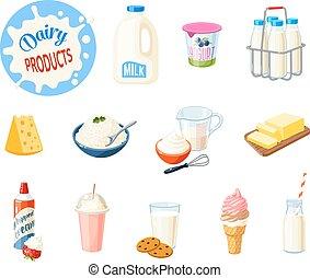 megfej, vaj, ábra, joghurt, white., ver krém, -, vektor, elszigetelt, tejgazdaság termék, karikatúra, milkshake, food:, so., sajt, fagylalt, állhatatos