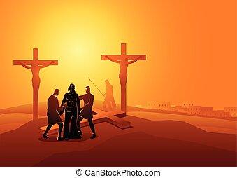 megfosztot, övé, jézus, öltözet