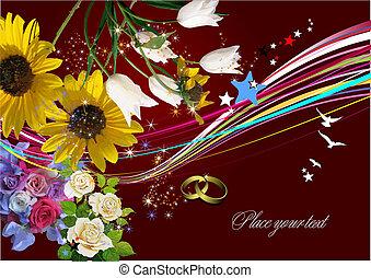 meghívás, vektor, esküvő, kártya, köszönés, card., illustration.