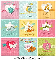meghívás, -, vektor, kártya, érkezés, állhatatos, csecsemő, színes, születésnap, gratuláció