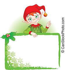 meghív, &, manó, állás, karácsonyi üdvözlőlap