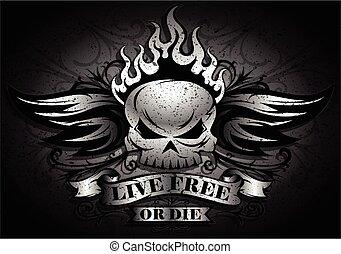 meghal, -, vagy, tervezés, szabad, koponya, él