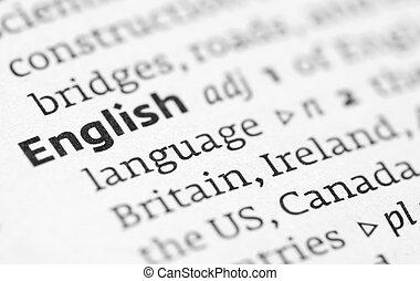 meghatározás, szótár, angol