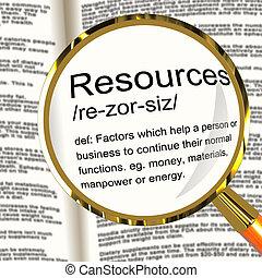 meghatározás, vagyontárgyak, ügy, munkaerő, kellék, nagyítóüveg, erőforrás, látszik