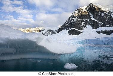 megható, antarktisz, -, jég