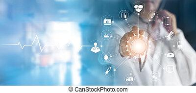megható, orvosi, hálózat, ellenző, orvosság, sztetoszkóp, technológia, orvos, határfelület, tényleges, kéz, ikon, fogalom, összeköttetés, modern