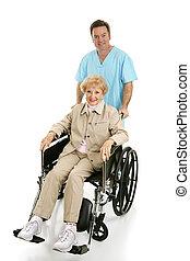 meghibásodott, &, idősebb ember, ápoló