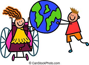 meghibásodott, világ, gyerekek