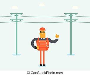 megjavítás, pole., villanyszerelő, villamos energia
