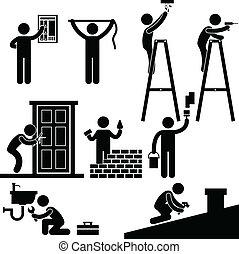 megjavítás, rögzítő, jelkép, ezermester