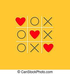 megjelöl, lakás, piros háttér, kártya, három, lábujj, tervezés, tac, arcrángatózás, aláír, szeret, kereszt, játék, szív, sárga