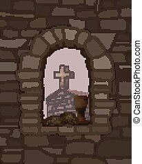 megkövez, ősi, arched ablak, ábra, cross., vektor, fekete, templom, bread, bor, középkori