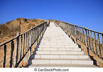 megkövez, kék ég, alatt, lépések