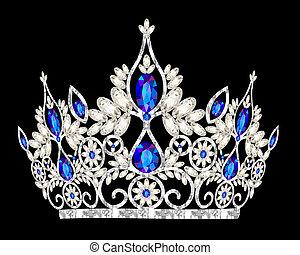 megkövez, kék, tiara, esküvő, women's, fejtető