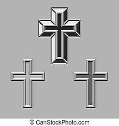 megkövez, keresztbe tesz, keresztény, vektor, faragott, 3