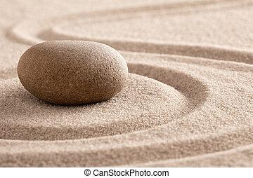megkövez kert, mindfulness, zen, homok, elmélkedés