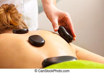 megkövez, nő, szépség, kinyerés, csípős, terápia, ásványvízforrás, salon., masszázs