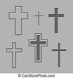 megkövez, vektor, keresztény, faragott, keresztbe tesz