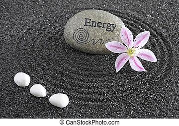 megkövez, zen kert, energia