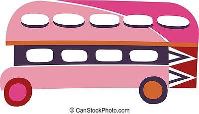 megkettőz, fehér, elszigetelt, háttér, autóbusz
