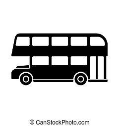 megkettőz, silhouette., decker, vektor, london, autóbusz