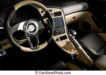 megkorbácsol, hangolt, autó., fényűzés, belső, sport