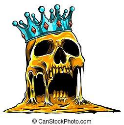 megkoronázott, crown., arany, koponya, kísérteties, emberi koponya, király, jelkép, királyi