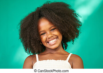 meglehetősen lány, gyermek, fekete, csinos, női, latina, mosolygós, fiatal