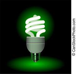 megmentés, fény, energia, -, vektor, fluoreszkáló, editable, gumó