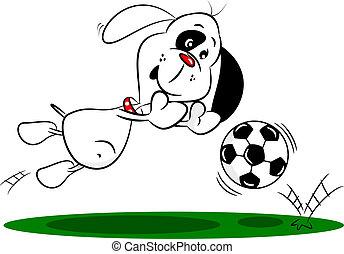megmentés, labdarúgás, karikatúra, kutya