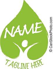 megment, ikon, emberi, zöld, vektor, world-, jelkép, egészséges, levél növényen, logo., vagy