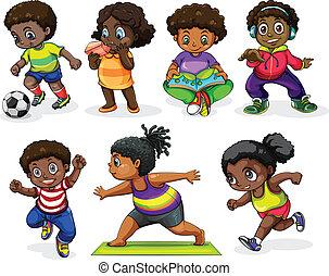 megnyerő, elfoglaltságok, különböző, gyerekek, afrikai